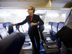 Flight attendant in uniform