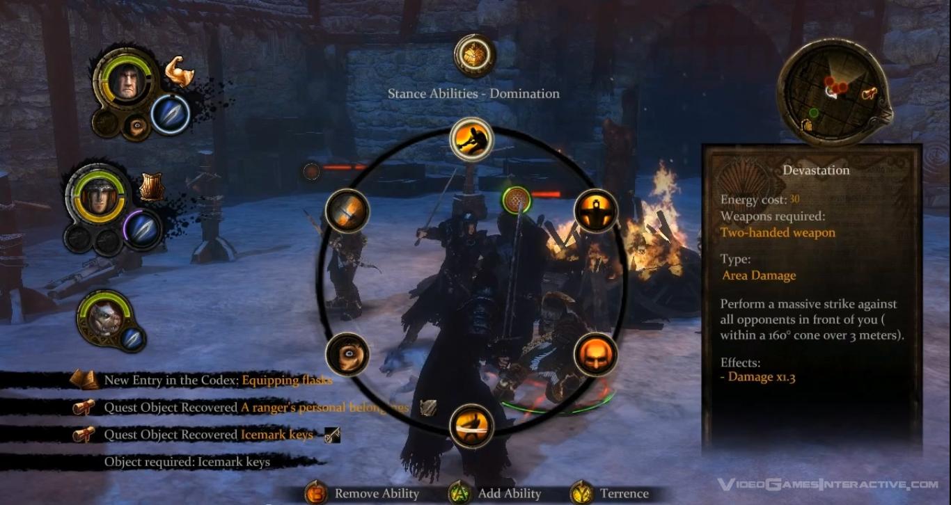 Radial menu in Game of Thrones game