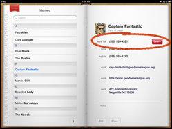 iPad Contacts app