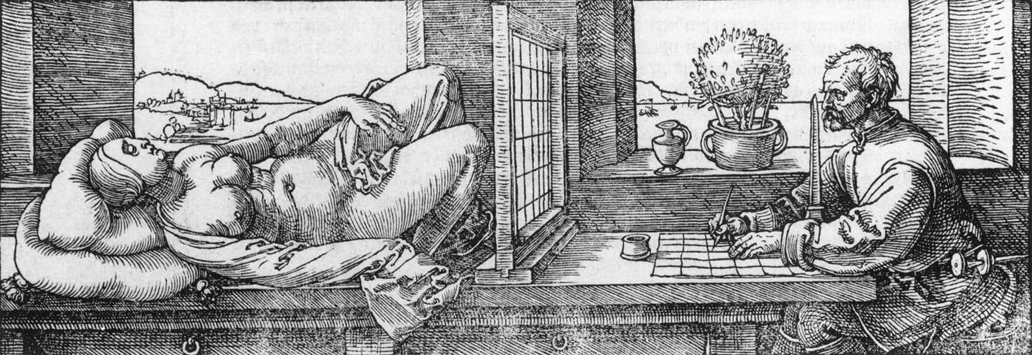 """Draughtsman Making a Perspective Drawing of a Woman"" by Albrecht Dürer, 1525."