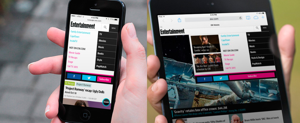 Entertainment Weekly's navigation on small and large screens