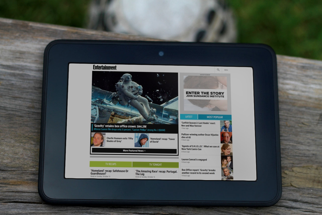 Entertainment Weekly on a wide tablet view