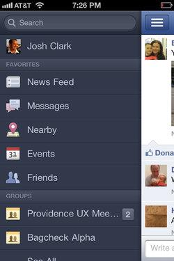 Facebook 4 navigation