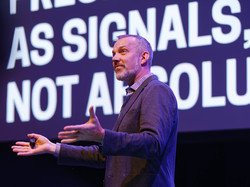 "Josh Clark at Beyond Tellerrand: ""A.I. is your new design material."" Photo by Stefan Nitzsche."
