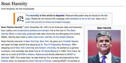 Wikipedia's Sean Hannity entry