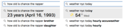 Search-bar results for birthday and weather