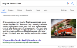 Google snippet: why are firetrucks red?